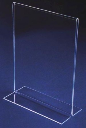 "7.5"" Acrylic Straight Back Counter Top Sign Holder (Vertical) 3"