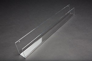 "Acrylic J Rack Wall Mount With Open Ends 23 3/4"" W"