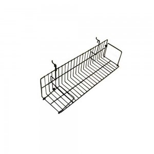 Black Metal Slatgrid Shelf With Wings 2'