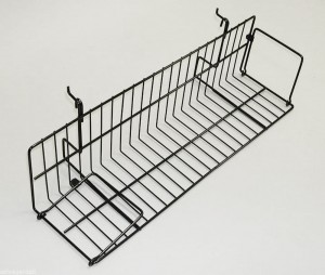 Black Metal Slatgrid Shelf With Wings 2' 1