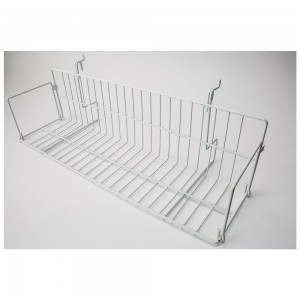 White Metal Slatgrid Shelf With Wings