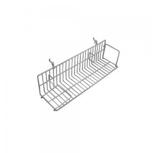 White Metal Slatgrid Shelf With Wings 2'