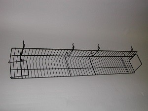 Black Metal Slatgrid Shelf With Wings 4' 2