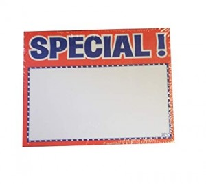 "Special Sign Card 3.5"" x 2.75"" Red. Pack of 100"