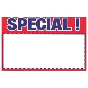 Special Sign Card - Pack of 100 Multiple Sizes Available
