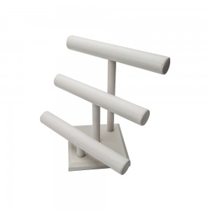 White Leather T-Bar 3 Tier Display 12.5""
