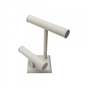 """White Leather T-Bar 2 Tier Display 10.75"""""""