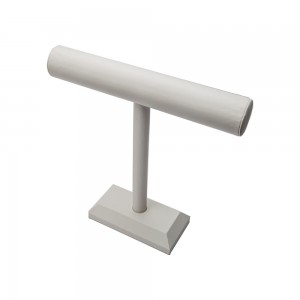 White Leather T-Bar Display 12""