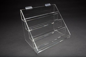 "Slatwall Acrylic 4 Tier Display. 15""W X 11""D X 12.75""H 2"