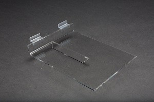 "Acrylic Slatwall Shelf with Brace 8""x10"" 3"