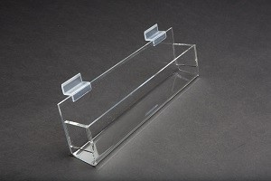 "12"" Slatwall Acrylic J Rack With Gaps 2"