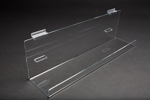 Acrylic Slatwall Tilted Display Tray with Lip 2' 2