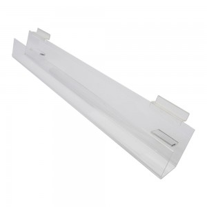 "Acrylic Slatwall Slanted Shelf with Lip 2'x2""3.5"""
