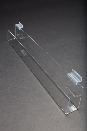 "Acrylic Slatwall Slanted Shelf with Lip 2'x2""3.5"" 2"