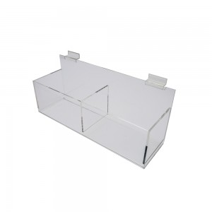 "Acrylic Slatwall Double Bin Display 16""x5""x5"""