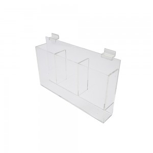 Acrylic Slatwall Triple Brochure Holder With Gaps 13""