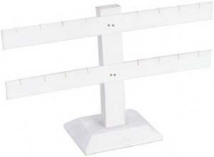 Table Top Earring Display White Faux Leather T-Bar For 8 Pairs: 252-2L-W