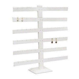 Table Top Earring Display White faux leather 6 bar: 252-6L-W