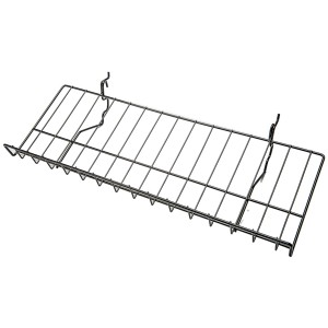 Slatgrid Black Metal Angled Shelf With Lip