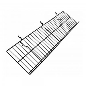"Slatgrid Black Metal Angled Shelf With Lip 46"" x 10"""