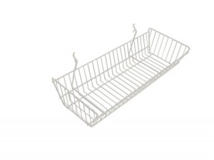 "Grid Slatwall Basket 24"" x 12"" x 4"" White"