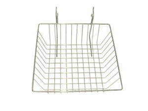 "Grid/Slatwall Basket 12"" x 12"" x 4"" White: BSK13-W"