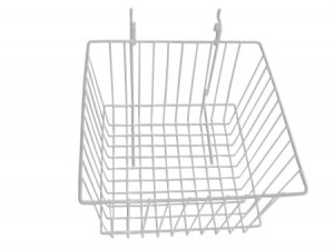 Grid Slatwall Basket White