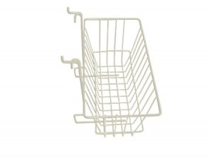 "Grid/Slatwall Basket 12"" x 6"" x 6"" White: BSK17-W"
