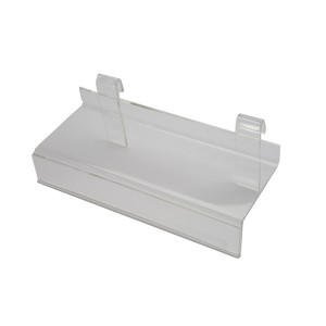 "Clear acrylic economy gridwall shoe shelf 10"" x 4"" with 1/2"" dropdown sign holder."