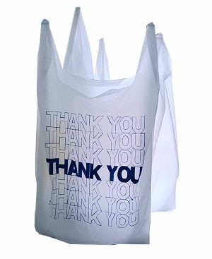 "Thank You T Shirt Plastic Bags 12"" White 100/Box"