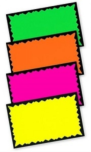 "Fluorescent Paper Cards 7"" x 11"" 3"