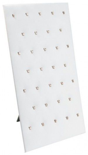 White faux leather pendant display, Has 32 hooks.