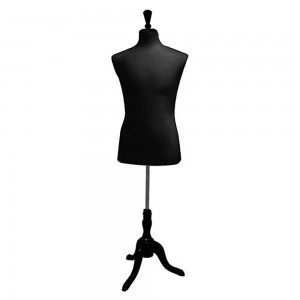 Men's Black Form Mannequin Torso With Base
