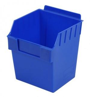 """Blue Plastic Slatwall Bin 6""""x6""""x7"""""""