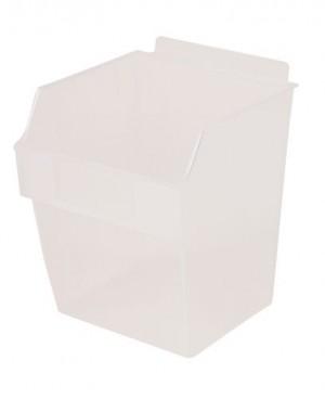 """Plastic Slatwall Bin 6"""" x 6"""" x 7"""" Clear"""