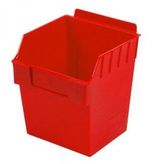 """Red Plastic Slatwall Bin 6""""x6""""x7"""""""