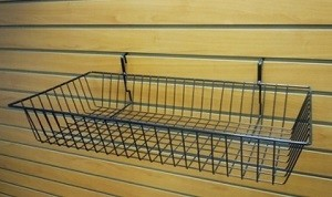 "Grid/Slatwall Basket 24"" x 12"" x 4"" Black 3"