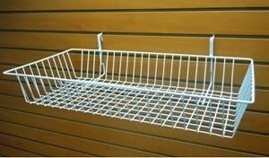 """Grid Slatwall Basket 24"""" x 12"""" x 4"""" White 3"""