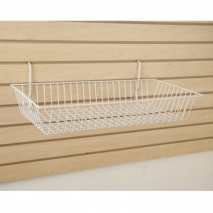 "Grid/Slatwall Basket 24"" x 12"" x 4"" White 3"