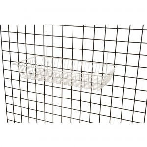 "Grid Slatwall Basket 24"" x 12"" x 4"" White 3"
