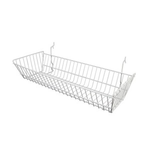 "Grid/Slatwall Basket 10"" x 24"" x 5"" White:"