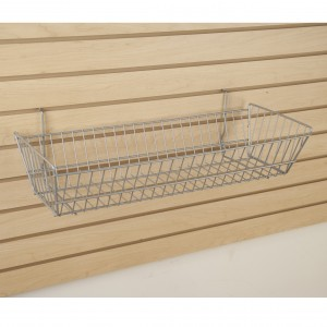 "Grid/Slatwall Basket 10"" x 24"" x 5"" Chrome: BSK12-CH 1"