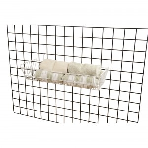 "Grid/Slatwall Basket 10"" x 24"" x 5"" White:  4"
