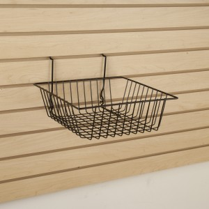 "Grid Slatwall Basket 12"" x 12"" x 4"" Black 7"