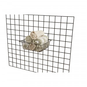 "Grid, Slatwall, Pegboard Basket 12"" x 12"" x 4"" Black: Box of 6"