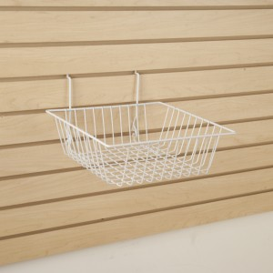 "Grid/Slatwall Basket 12"" x 12"" x 4"" White 3  6"