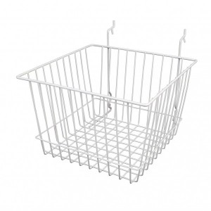 "Grid/Slatwall Basket 12"" x 12"" x 8"" White 1"