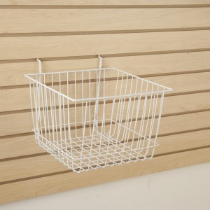 "Grid/Slatwall Basket 12"" x 12"" x 8"" White 3"