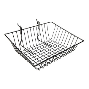 "Grid Slatwall Basket 15"" x 12"" x 5"" Black"