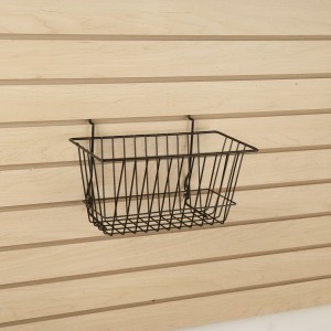 "Grid Slatwall Basket 12"" x 6"" x 6"" Black 6"
